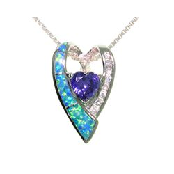 Sterling Silver Created Opal Double Heart Necklace