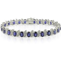 Silver Created Sapphire and Diamond Accent Tennis Bracelet