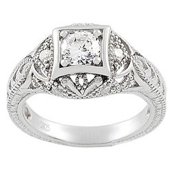 Tressa Sterling Silver Round-cut Cubic Zirconia Pave-style Ring