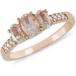10k Pink Gold Morganite and 1/10ct TDW Diamond Ring