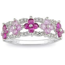 10k White Gold Created Ruby, Pink Sapphire, Diamond Ring