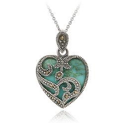 Sterling Silver Marcasite and Turquoise Heart Necklace