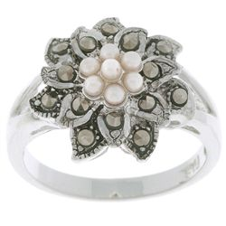 Sterling Silver Marcasite and Synthetic Pearl Floral Ring