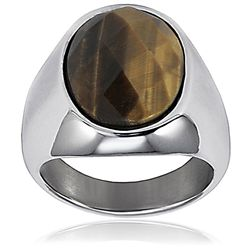 Stainless Steel Polished Tigers Eye Ring