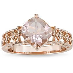 10k Pink Gold Morganite and Diamond Accent Ring