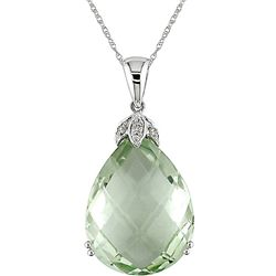 10k White Gold Green Amethyst and Diamond Necklace