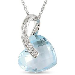10k White Gold Blue Topaz and Diamond Heart Necklace
