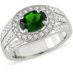 Sterling Silver Chrome Diopside and White Topaz Ring