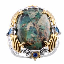 Michael Valitutti Two-tone Green Jasper and London Blue Topaz Ring
