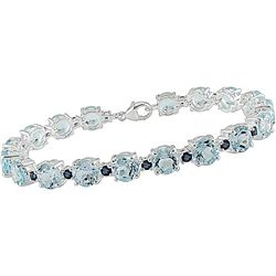 Sterling Silver Blue Topaz and Sapphire Bracelet