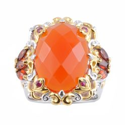 Michael Valitutti Two-tone Carnelian, Garnet and Ruby Ring