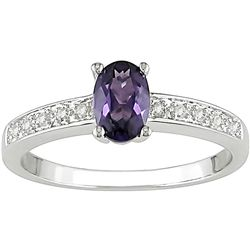 10k Gold Created Alexandrite and Diamond Accent Ring