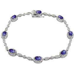 10k White Gold Tanzanite and Diamond Bracelet