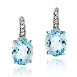 Glitzy Rocks Sterling Silver Blue Topaz and Diamond Accent Leverback Earrings