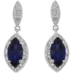 Sterling Silver Created Sapphire and 1/10ct TDW Diamond Earrings