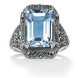 Angelina D'Andrea Sterling Silver Blue Topaz Filigree Ring