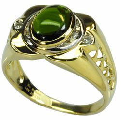 De Buman 10k Gold Men's Chrome Diopside and 1/10ct TDW Diamond Ring