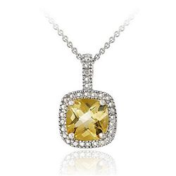 Glitzy Rocks Sterling Silver Citrine and Diamond Accent Square Necklace