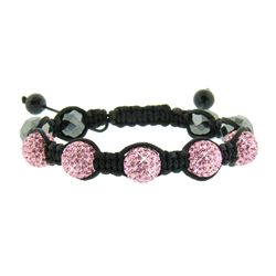 JewelQuake Hematite and Pink Crystal Shamballa Bracelet
