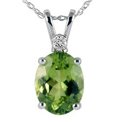 14k White Gold Peridot Diamond Necklace