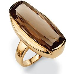 Angelina D'Andrea Gold over Silver Smoky Quartz Ring