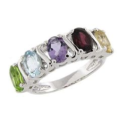 Sterling Silver Multi-gemstone 'S' Design Ring