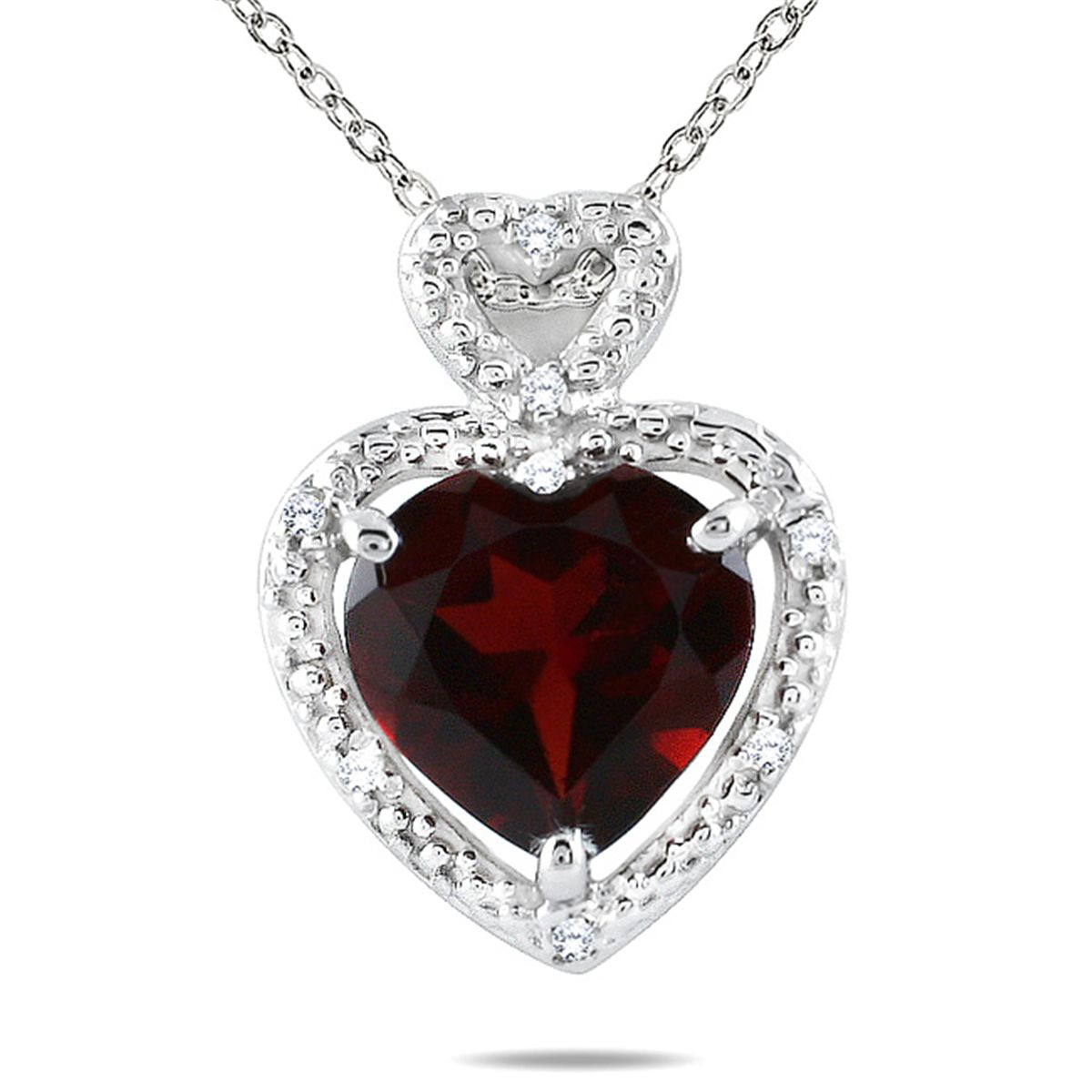 10k white gold garnet and diamond heart necklace mozeypictures Choice Image