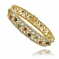 18k Gold over Silver Multi-gemstone and Diamond Accent Bracelet
