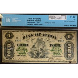 1872 $4.00 Bank of Acadia, CH 5-10-02, CCCS F-12