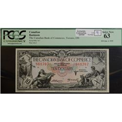 1935 $10.00 Canadian Bank of Commerce, CH 75-18-08, PCGS UNC-63.