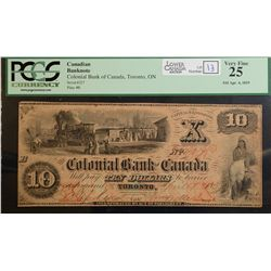 1859 $10.00 Colonial Bank of Canada, CH 130-10-02-12, PCGS VF-25.