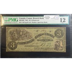 1861 $3.00 Commercial Bank of Canada, CH 200-10-02, PMG f-12.