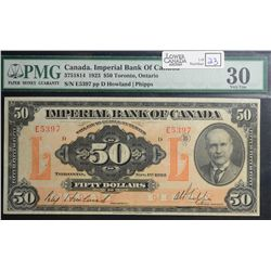 1923 $50.00 Imperial Bank of Canada, CH 375-18-14, PMG VF-30.