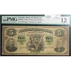 1888 $5.00 Bank of Montreal, CH 505-38-02, PMG F-12.