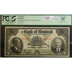 1923 $5.00 Bank of Montreal, CH 505-56-02, PCGS VF-35.