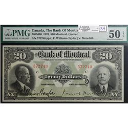 1923 $20.00 Bank of Montreal, CH 505-56-06, PMG AU-50.