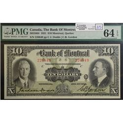 1931 $10.00 Bank of Montreal, CH 505-58-04, PMG UNC-64 EPQ.