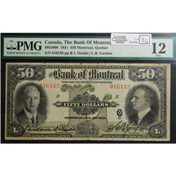1931 $50.00 Bank of Montreal, CH 505-58-08, PMG F-12.