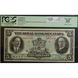 1927 $5.00 Royal Bank of Canada, CH 630-14-04, PCGS VF-35.