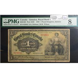 1938 £1 Royal Bank of Canada/Jamaica, CH 630-54-02, PMG VG-8, 18 known 2 of which in Institution.