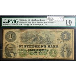 1880 $1.00 St. Stephens Bank, CH 675-20-04-04, PMG VG-10, 9 known of which 1 in Institution.