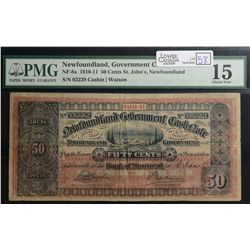 1910-11 50 Cents Government Cash note Newfoundland, NF-8a, PMG F-15.