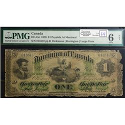 1870 $1.00, DC-2a-i, Montreal, Large Date, PMG G-6 Net.