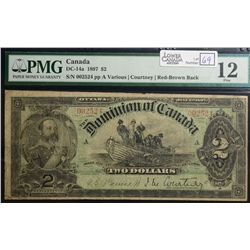 1897 $2.00, DC-14a, PMG F-12, rare Red/Brown Back.