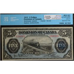 1912 $5.00, DC-21d, CCCS AU-50, another nice train note example.