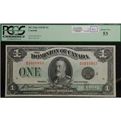 1923 $1.00, DC-25m,  PCGS AU-53, rare variety. Lovely example.