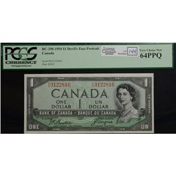 1954 $1.00, BC-29b, serial R/A3122816-17-18, PCGS UNC-64 PPQ. Lot of 3 consecutive Devil's Face note