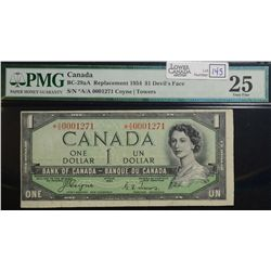 1954 $1.00, BC-29aA, serial *A/A0001271, PMG VF-25, scarce Devil's Face replacement note.