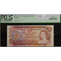 1974  Two Dollars Replacement, BC-47aA, PCGS UNC-65 PPQ, Lawson Bouey, serial *BC0353624.