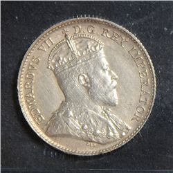 1908 5 Cents, ICCS MS-60 Large 8, Cleaned.